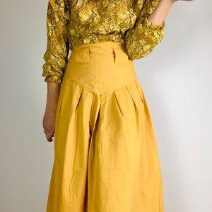 Vintage Mustard High Rise Pleat A Line Midi Skirt
